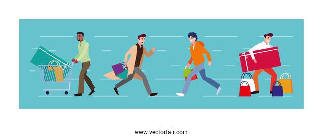 men shopping vector design