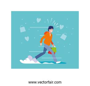 man shopping vector design