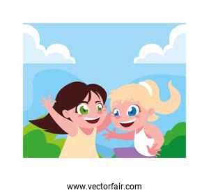 Girls cartoons playing outside vector design
