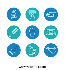 soap and cleaning elements icon set, block style