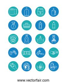 mouth mask and cleaning elements icon set, block style