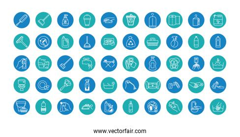 cleaning tools icon set, block style