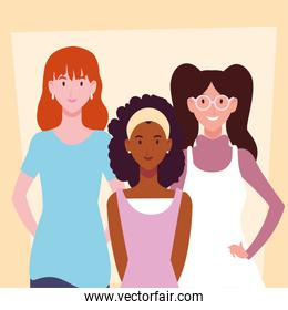 interracial women with different poses
