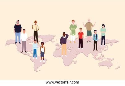 group of people with earth map