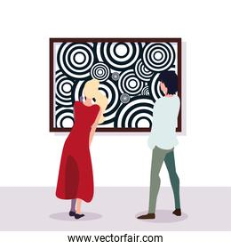 couple of people in contemporary art gallery, exhibition visitors viewing modern abstract paintings