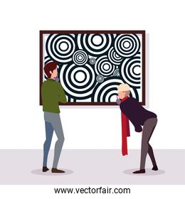 men in contemporary art gallery, exhibition visitors viewing modern abstract paintings