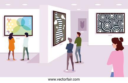 group of people in contemporary art gallery, exhibition visitors viewing modern abstract paintings