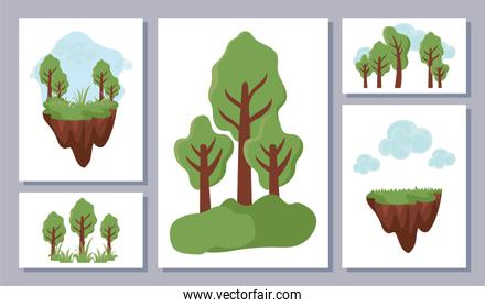 set of icons with tree plants , renewable energy