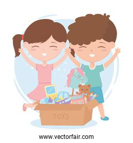 kids zone, little boy and girl with cardboard box of toys