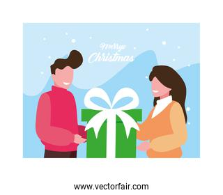 merry christmas label with couple and gift box