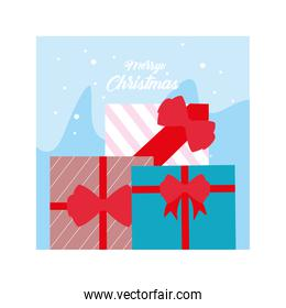 merry christmas label with gift box on winter landscape