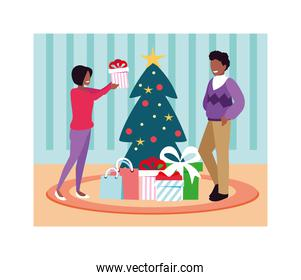 scene of couple with christmas tree and gift