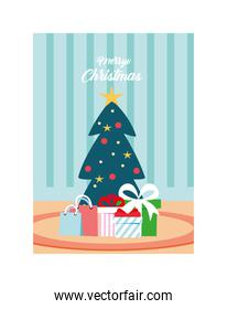 merry christmas label with christmas tree