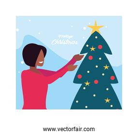 merry christmas label with woman and christmas tree