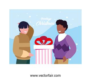 merry christmas label with men and gift box