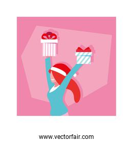 woman with gift boxes in pink background