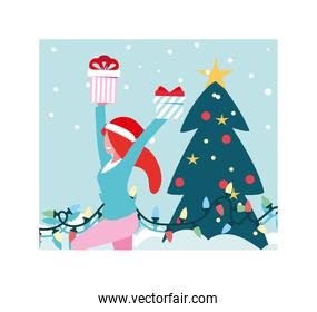 scene of woman with christmas tree and gift