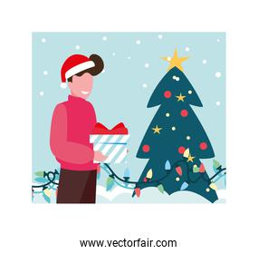 scene of man with christmas tree and box gift