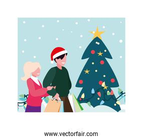 scene of couple with christmas tree and boxes gift