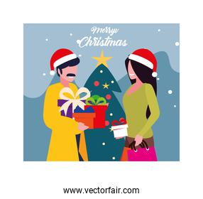 merry christmas label with couple and christmas tree