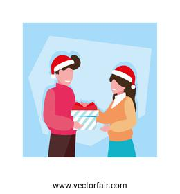 couple with gift box in blue background