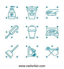 soap and cleaning elements icon set, line style