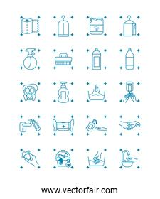 mouth mask and cleaning elements icon set, line style