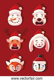 set of animals with christmas hats