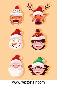 set of icons christmas with head santa claus and animals