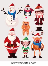 set of icons christmas with santa claus and animals