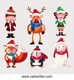 set of icons christmas with animals