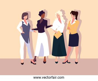 set of businesswomen with various views, poses and gestures