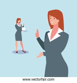 cute businesswoman with various views, poses and gestures