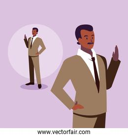 cute businessman with various views, poses and gestures