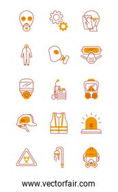 security masks and safety elements icon set, half line half color style