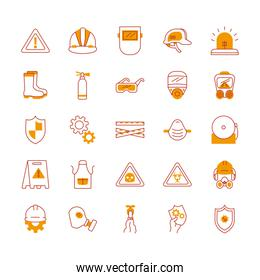 warning signs and industrial security icon set, half line half color style