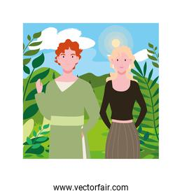 couple of people with background landscape