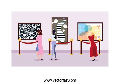 women in contemporary art gallery, exhibition visitors viewing modern abstract paintings