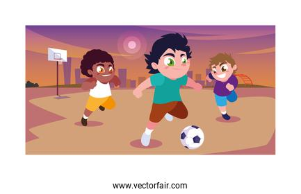 cute boys playing soccer outdoors