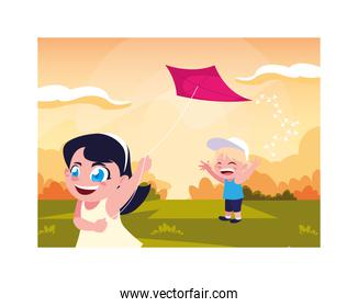 children smiling and playing with a kite