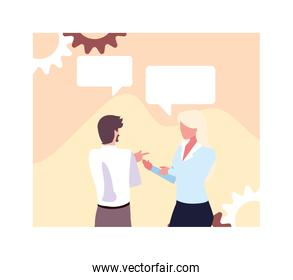business couple in the work office with speech bubble