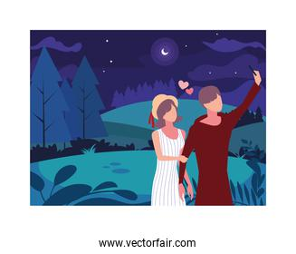 couple of people in love walking in park with night landscape