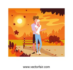 couple of people walking in the park, autumn landscape