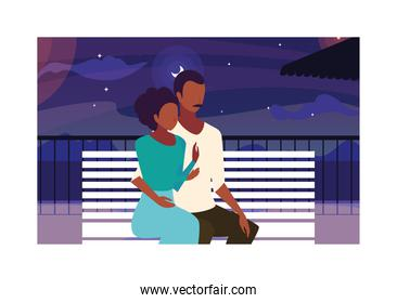 couple of people in love sitting in park chair with night landscape
