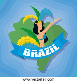 brazil carnival poster with beautiful garota dancing