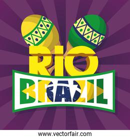 brazil carnival poster with maracas