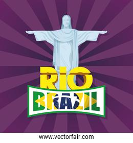 brazil carnival poster with corcovade christ