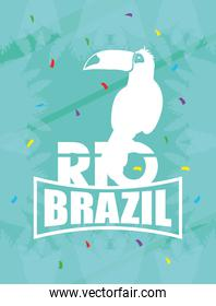 brazil carnival poster with tucan exotic bird