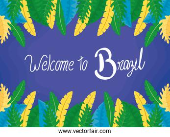 brazil carnival poster with lettering and feathers