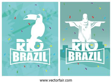 brazil carnival poster with toucan and corcovade christ